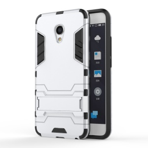 Cool Guard Plastic + TPU Shell Case with Kickstand for Meizu MX6 - Silver
