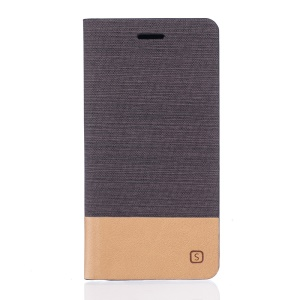 Two-color Linen Texture PU Leather Stand Case for Meizu m3 note - Coffee
