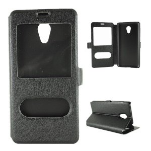 Silk Grain Dual Window Leather Stand Case for Meizu MX6 - Black