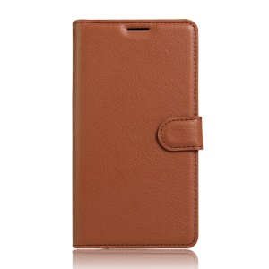 Litchi Skin Leather Card Holder Case for Meizu m3 m3s - Brown