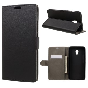 Leather Stand Case with Wallet for Meizu m3e - Black