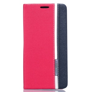 Two-color Leather Stand Case with Card Slot for Meizu MX 6 - Rose