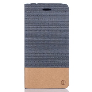 Two-color Linen Texture Leather Stand Case for Meizu MX6 - Dark Grey