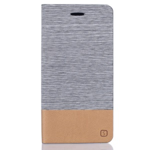 Two-color Linen Texture Leather Stand Cover for Meizu MX6 - Light Grey