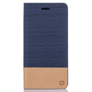 Two-color Linen Texture Leather Stand Case Cover for Meizu MX6 - Dark Blue
