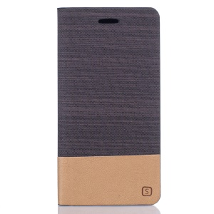 Two-color Linen Texture Leather Case with Card Slot for Meizu MX6 - Coffee