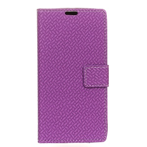 Woven Pattern Wallet Stand Leather Phone Case for Meizu m3e - Purple