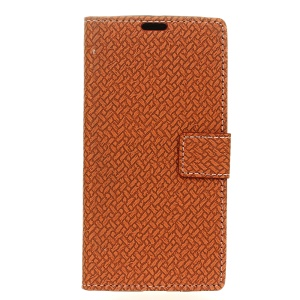 Woven Pattern Wallet Leather Protector Cover for Meizu m3e - Brown