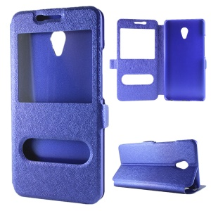 Dual Windows Silk Texture Leather Stand Cover for Meizu M3E - Blue