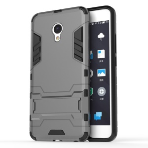 Solid PC + TPU Hybrid Phone Case with Kickstand for Meizu m3e - Grey