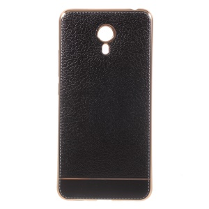 Litchi Texture PU Leather Coated Plating TPU Cover for Meizu M3 Note - Black