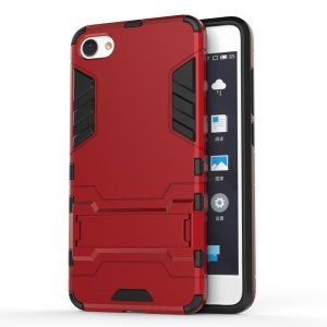 Solid PC + TPU Hybrid Case Cover with Kickstand for Meizu U10 - Red