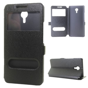 Silk Texture Dual View Windows Leather Stand Case for Meizu m3 Max - Black
