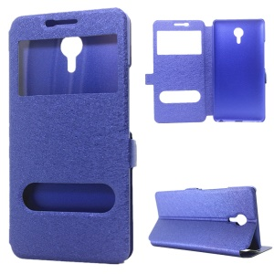 Silk Grain Dual View Windows Stand Leather Phone Cover for Meizu m3 Max - Blue