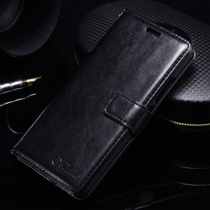 Crazy Horse Wallet Leather Stand Phone Case for Meizu m3s - Black