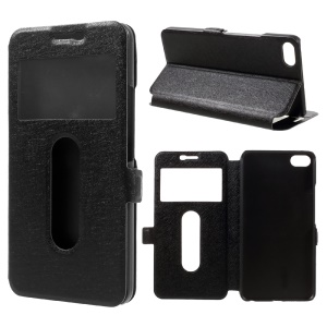 Silk Texture Dual View Window Leather Case for Meizu U20 - Black