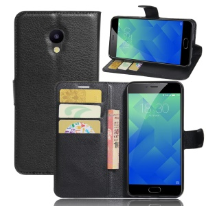 Litchi Texture Leather Wallet Stand Phone Case for Meizu M5 - Black