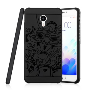 Auspicious Dragon Pattern Drop-proof Imprint TPU Cover for Meizu m3 note / Blue Charm Note3 - Black