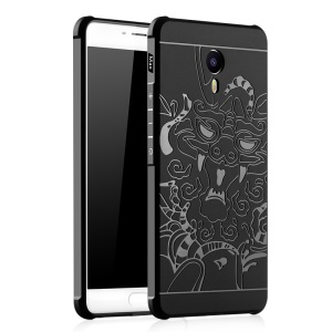 Auspicious Dragon Pattern Drop-proof Imprint TPU Cover for Meizu m3 Max - Black
