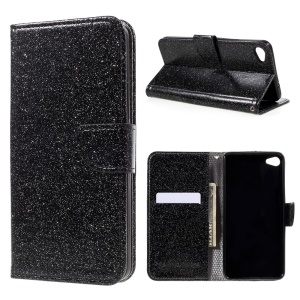 Glitter Powder Wallet Leather Stand Case for Meizu U20 - Black