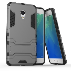 Cool Plastic TPU Hybrid Back Cover with Kickstand for Meizu M5s - Grey