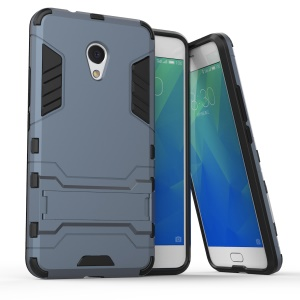 Cool Plastic TPU Kickstand Combo Mobile Cover for Meizu M5s - Dark Blue