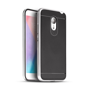 IPAKY PC Frame + Soft TPU Hybrid Mobile Case for Meizu MX5 - Silver