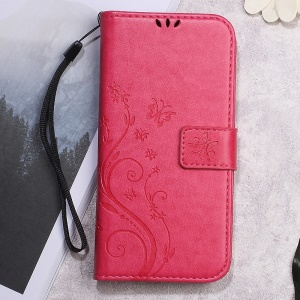 Butterfly Flower Imprinted Wallet Leather Cover Case Stand for Meizu m3 - Rose