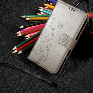 Imprinted Butterfly Flower Wallet Leather Case Stand for Meizu U10 - Grey