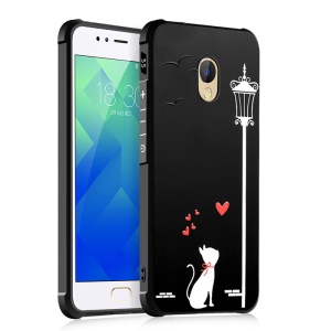 Four Corners Air-cushioning Shockproof TPU Back Cover for Huawei P10 - Cat under Streetligh