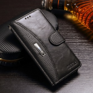 Splicing Wallet Leather Stand Case for Meizu M5 - Black