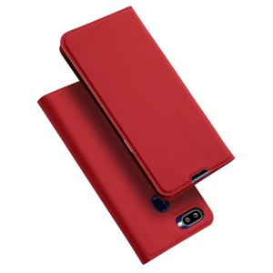 DUX DUCIS Skin Pro Series Flip Leather Stand Protection Phone Cover for OPPO F9 with Card Slot - Red