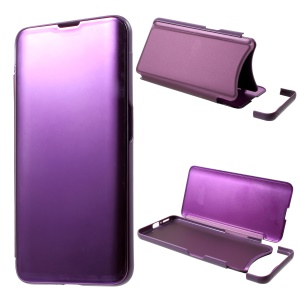 View Window Plated Mirror Surface Leather Stand Cover for Oppo Find X - Light Purple