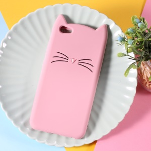 3D Mustache Cat Silicone Phone Case for vivo V5 - Pink