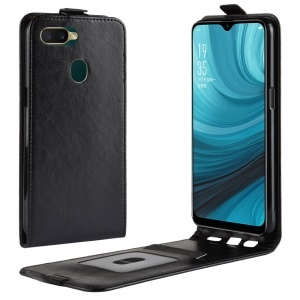 Crazy Horse [Vertical Flip] Leather Phone Cover for OPPO A7/AX7 - Black