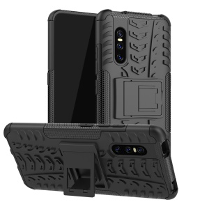 2-in-1 Tyre Pattern PC + TPU Hybrid Mobile Phone Case with Kickstand for vivo v15 Pro - Black