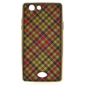 XINCUCO Grid Style Electroplated TPU Case for OPPO A31 - Red / Yellow