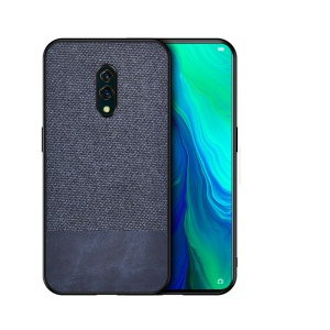 TPU+Cloth+PU Leather Phone Protector Case for Oppo Realme X - PU Leather+Cloth/Dark Blue