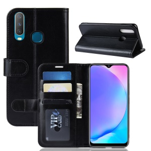 Crazy Horse Wallet Leather Stand Mobile Phone Case for VIVO Y17 / Y3 - Black