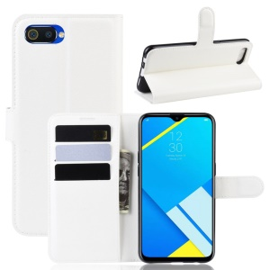 Litchi Skin Leather Wallet Stand Case for OPPO A1k / Realme C2 - White