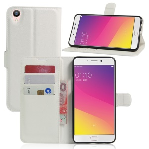 Litchi Texture Wallet Leather Cover for Oppo F1 Plus / Oppo R9 - White
