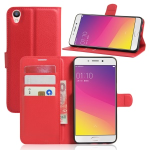 Litchi Texture Wallet Leather Shell for Oppo F1 Plus / Oppo R9 - Red