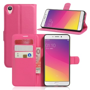 Litchi Texture Wallet Leather Stand Case for Oppo F1 Plus / Oppo R9 - Rose