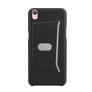 G-CASE Ostrich Texture Leather Coated PC Card Holder Cover for Oppo R9 Plus - Black