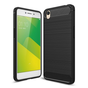 Carbon Fibre Brushed TPU Case for Oppo A37 - Black