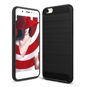 Carbon Fiber Texture Brushed TPU Phone Case for Oppo A39 - Black