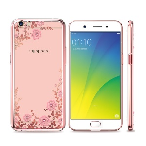 KAVARO for Oppo R9s Plus Authorized Swarovski Crystal Floret Plated PC Case - Rose Gold Edge / Pink Flowers