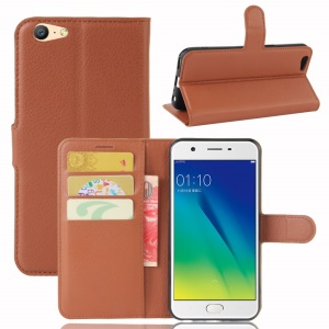 Lychee Skin Wallet Leather Case with Stand for OPPO A57 A57m - Brown