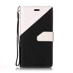Contrast Color Stand Sand-like Texture Leather Wallet Flip Case with Lanyard for OPPO A37 - White