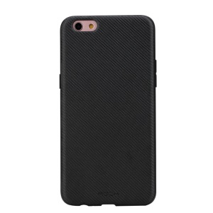 For OPPO R9s Plus ROCK Origin Series PU Leather Coated Texture Carbon Fiber PC TPU Hybrid Case - Black